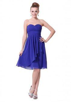 Chiffon Strapless Sweetheart A-Line Short Bridesmaid Dress - Bridesmaid - WHITEAZALEA.com