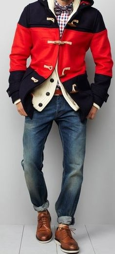 Coo Threads!.....but I would have to wear some socks, I don't see how people can wear shoes without socks LoL also I would remove the white cardigan to much layering SMH....Also I Would Wear Brown Casual Boots With This Outfit Instead Of Wingtip Dress Shoes & The Blue Jeans Need To Be A Little More Baggy