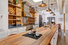 wood kitchen countertops | 23 Reclaimed Wood Kitchen Islands (Pictures) - Designing Idea