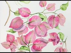 (41) Watercolor Bougainveillea Tree Painting Demo - YouTube