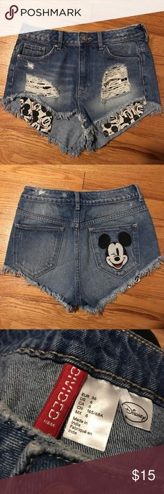 High waisted Disney shorts High waisted distressed denim Disney shorts with a Mickey patch on the back pocket Divided Shorts Jean Shorts