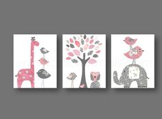 Baby Girl Nursery Decor Elephant nursery Art by GalerieAnais