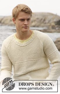 "DROPS Extra 0-851 - Knitted DROPS men's jumper with raglan and double seed st in ""Lima"" or ""Merino Extra Fine.. Size: S - XXXL. - Free pattern by DROPS Design"