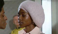 Brenda Sykes as Tiffany inCleopatra Jones, 1973. Love the pink beanie.