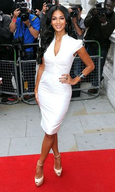 """Nicole Scherzinger.  Love the white """"freshed dress woman"""" feel of this outfit."""