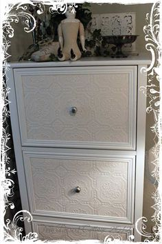 would like to redo a filing cabinet like this .maybe with embossed paintable wallpaper and glue molding around the drawers. I'll probably never do this, but it sure looks cute! Furniture Projects, Furniture Making, Furniture Makeover, Office Furniture, Home Projects, Office Decor, Furniture Decor, Office Ideas, Va Office