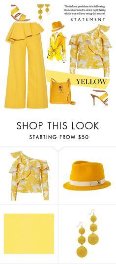 """yellow"" by katymill ❤ liked on Polyvore featuring Oscar de la Renta, self-portrait, Dolce&Gabbana, Maison Michel, Kenneth Jay Lane, Hermès, yellow and yellowdress"