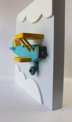 Avión de madera 3D arte de pared para cuartos de por EleosStudio