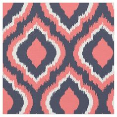 Navy and Coral Ikat Moroccan Fabric