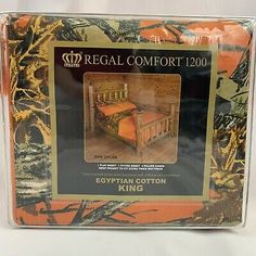 Regal Comfort king size camo pattern and solid orange sheet set, 6 piece (includes one flat, one fitted and four pillowcases).