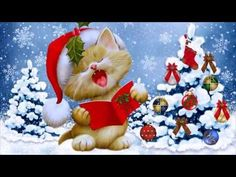Christmas cat Frameless Coloring By Numbers Kits Drawing Paint On Canvas For Wall Art Picture diy oil painting Home Decoration Diy Image, Vive Le Vent, Festival Paint, Christmas Desktop, Christmas Kitten, Cat Cards, Cross Paintings, Christmas Paintings, Diy Christmas Gifts