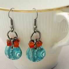 Boho Turquoise Earrings Sea Urchin Earrings Fun by BayMoonDesign