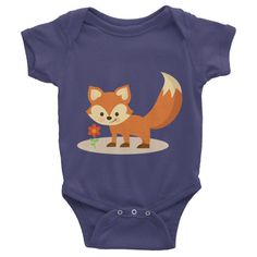 This short-sleeve baby onesie is soft, comfortable, and made of 100% cotton. It's designed to fit infants of all sizes, with a rib knit to give good stretch and a neckband ... #fox