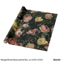 Vintage Flower Roses and Iris Pattern-Dark Dreams Wrapping Paper