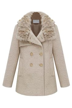 Epaulet Decorative Fur Collar Creamy-white Coat. Description Creamy-white  coat featuring unique 726f790e4128
