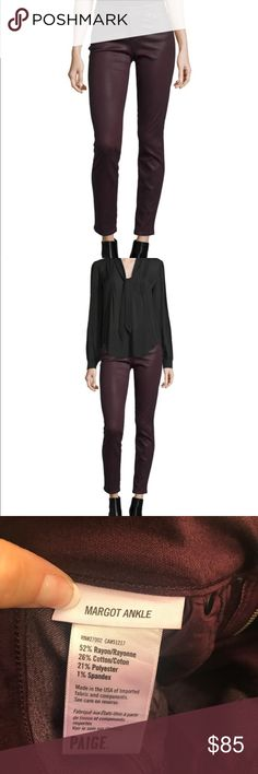 """Paige Denim """"Margo"""" jeans in Luxe-coated Wine wash Paige Denim's Margo  jeans rock a slick, coated finish in high-shine wine for an ultra-cool, new-season update on this signature skinny style.                                                                      Paige Denim """"Margo"""" jeans in Luxe-coated Wine wash. Five-pocket style; logo patch at back waist. Rise sits at natural waist. Made in USA of imported material. PAIGE Jeans Ankle & Cropped"""
