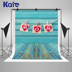 Blue Wood Wall Photography Backdrops Wood Floor by katehome2014