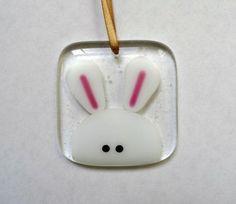 Easter bunny decoration, fused glass rabbit light catcher, Easter gift for her, handmade stained gla Fused Glass Ornaments, Fused Glass Jewelry, Fused Glass Art, Glass Pendants, Dichroic Glass, Glitter Ornaments, Handmade Ornaments, Glass Fusing Projects, Broken Glass Art