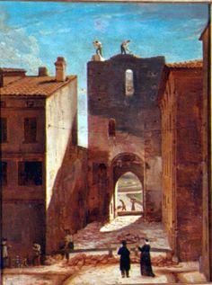 Félix SAURINE, (Toulouse, 1782 - Toulouse, 1846), Démolition de la porte Montoulieu (porte qui donnait sur le quartier saint-Etienne), 1826, Inv. RO 797. Non exposée. © Ville de Toulouse - musée des Augustins