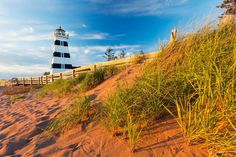 PEI road trip to West Point Lighthouse. Photo supplied by: Tourism PEI - Photo by: Stclair Macaulay Photo Supplies, Lighthouse Keeper, Little Island, Prince Edward Island, Travel Tours, Island Beach, East Coast, Day Trips, The Locals