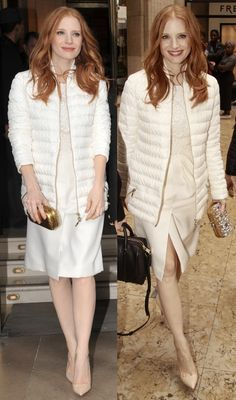 Jessica Chastain attends the Moncler Gamme Rouge Fall/Winter 2013 Ready-to-Wear show as part of Paris Fashion Week on March 6, 2013 in Paris, France