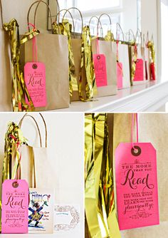 Party favors with a letterpress printed pink tag - cute idea for book favors & Dr. Seuss quote
