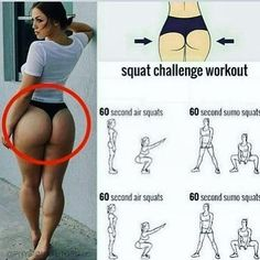 We've rounded up some of the best, most effect exercise tips to burn fat, shape, work and tone up your hips, thighs and butt. Air Squats, Sumo Squats, Fitness Inspiration Body, Squat Challenge, Flexibility Workout, Thigh Exercises, Gym Girls, Butt Workout, Fitness Tips