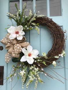 White Magnolia Floral Spring Grapevine Wreath for front Door or wall Diy Wreath, Grapevine Wreath, Diy Craft Projects, Diy Crafts, Summer Wreath, Holiday Wreaths, How To Make Wreaths, Wreaths For Front Door, Holidays And Events
