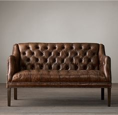 RH's Everett Tufted Leather Settee:Dating back to Europe, settees were the first se Corner Seating, Booth Seating, Banquette Seating, Floor Seating, Seating Plans, Tufted Leather Sofa, Leather Bench, Leather Chairs, Leather Recliner
