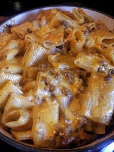 OH MY!!! must try! 3/4 bag ziti noodles 1 lb of ground beef 1 pkg taco seasoning 1cup water 1/2 pkg cream cheese 1 1/2 cup shredded cheese -- boil pasta until just cooked brown ground beef drain mix taco seasoning 1 cup water w/ ground beef for 5 min add cream cheese to beef mixture stir until melted remove from heat put pasta in casserole dish mix in 1 cup cheese top pasta/cheese with beef mixture gently mix top w/ remaining cheese bake at 350*.