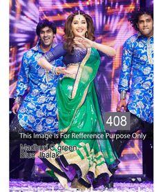 Bollywood Designer Madhuri Dixit New Arrival Green & Blue Saree