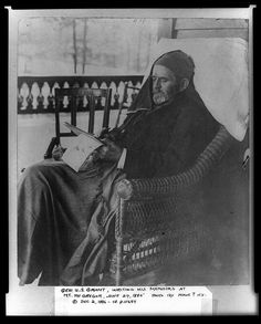 Portrait of General and President Ulysses S. Grant Writing his Memoirs - June 27th, 1885