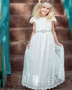 dd17f78ea High Neck White Lace Appliqued Tulle First Communion Dress with Belt FC0027