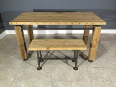 Modern Industrial Table/Desk w/ Matching Bench Made From Reclaimed Barn Wood - Gas Pipe cross bars - Flange Feet - Fast Shipping on Etsy, $1,400.00