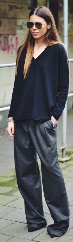 Zara Wide Legs Pinstriped Pants -- Soooo comfortable-looking.