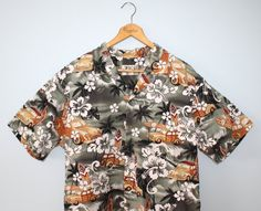 f25cb3cf Vintage men's Hawaiian shirt . hot rod woodie by FoxyBritVintage Luau Shirts,  Mens Hawaiian Shirts