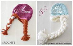 A perfect gift for the Disney FROZEN fan! Free crochet hat pattern with attached braids - adorable! Sie Hüte Disney FREE Frozen Crochet Patterns: Inspired by the Disney Movie Crochet Gifts, Cute Crochet, Crochet Baby, Frozen Crochet Hat, Crochet Braids For Kids, Anna Und Elsa, Crochet Disney, Crochet Beanie, Loom Knitting