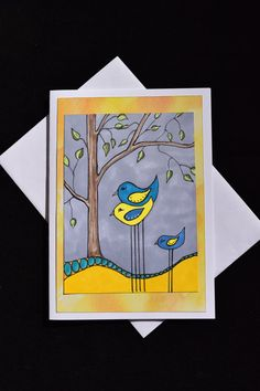 Bird Family Greeting Card Birthday Anniversary by MitchiesGalleria