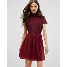 Daisy Street Skater Dress With Lace Top (51 AUD) ❤ liked on Polyvore featuring dresses, burgundy, high neck skater dress, woven dress, zipper dress, skater dress and zip dress