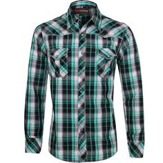 Rock & Roll Cowboy Men's Plaid Long Sleeve Western Shirt