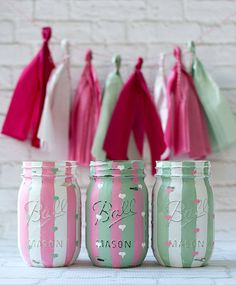 Pink  and Green Painted Mason Jars - Hearts and Stripes - Baby Shower, Wedding Shower