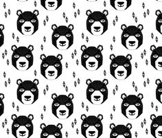Happy Bear - Black and White