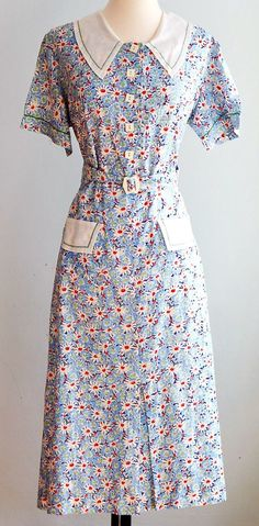 73d06787a14 1930s dust bowl dress - very likely to be made from printed
