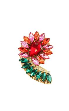 Charming brooch made of crystals rhinestones with gold-plated brass beads. Perfect to style a blazer, jacke