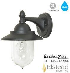 ELSTEAD 'SANDOWN' IP44 1 LIGHT WALL LANTERN, BLACK - GZH/SDN2 None