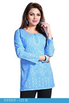 Blue American Crepe Printed Short Kurti - Crepe Kurtis / Tunics Manufacturer & Exporter | Kurtisindia  Rs.195/- Only www.kurtisindia.com