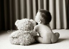 6 month photo ideas for a boy - I couldnt resist re-pinning this cute picture with the little bear!...look Diana if you and Richard have a boy...bear :).....perfect !!!