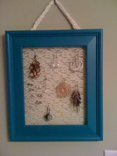 Love this frame!!! just added a little lace with staples and now it's for my earrings!!!