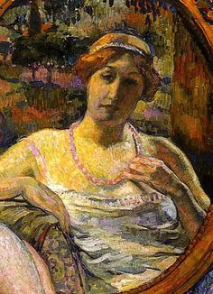 Woman at a Mirror (detail), by Theo Van Rysselberghe (Belgian, 1862-1926)