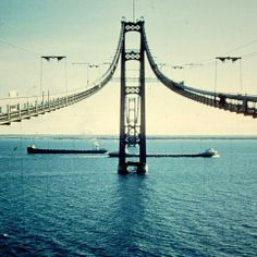 Kind of weird image when you're used to seeing the whole thing... Building the Mackinac Bridge